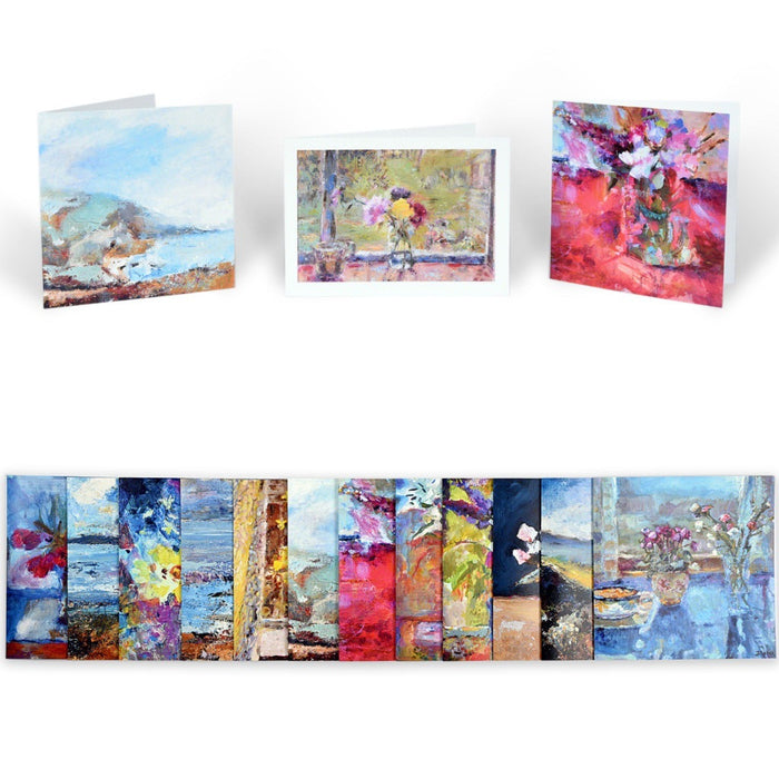 Set of Greetings Cards available at Judi Glover Art. Each card in the packs of greetings cards is blank inside and provided with Envelopes. Original art greeting card sets available online at Judi Glover Art