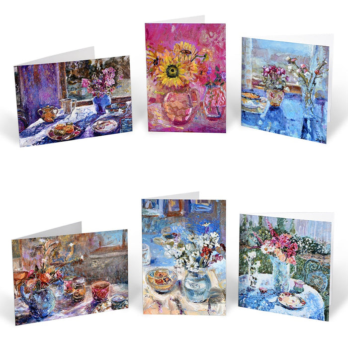 Set of six assorted artistic greeting cards from original art. Fine art Greeting cards in the UK from Judi Glover Art. Still Life Cards. A set of still life art cards celebrating flowers and light as it falls on everyday objects. Each original painting is by by UK Artist Judi Glover.