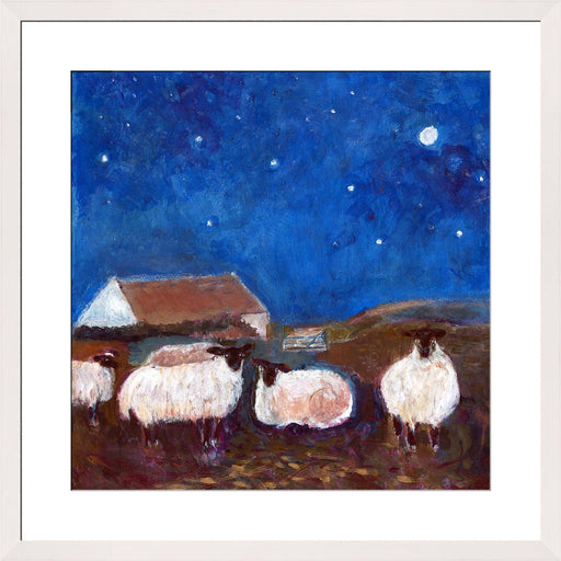 A sheep wall art print. Art print of sheep under the stars. Available in 30 x 30, 40 x 40, 50 x 50. The print of sheep can be bought unframed. The print of sheep can be framed in white, grey or dark grey. Available from UK Artist Judi Glover at Judi Glover Art.