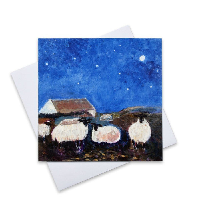 Sheep Christmas card. Pack of six art christmas cards. Christmas cards made from original art available at Judi Glover Art.