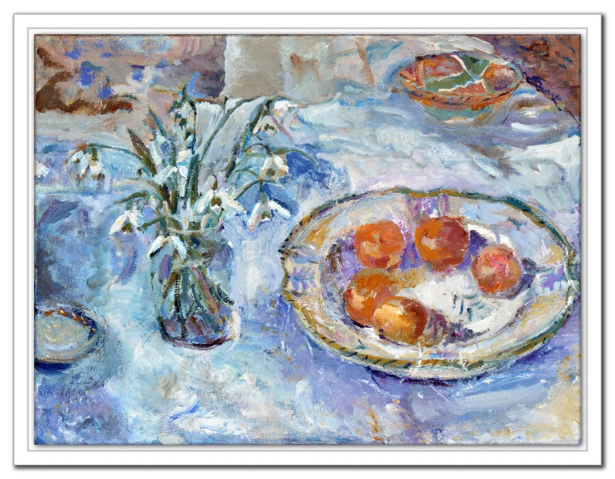 Snowdrops Canvas Print. Still life canvas print showing snowdrops and clementines on a table. Canvas Print made from original painting of snowdrops. Canvas Print from original art. Available at Judi Glover Art. Original Painting by Judi Glover. Used for Wall Art.