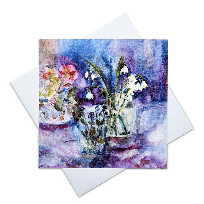 Art Greeting Card at Judi Glover Art from a painting of Spring flowers. The forget me not card in blank with envelopes, measures 6 x 6 inches and printed in the UK