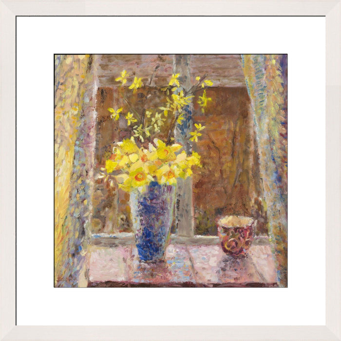 Fine Art Print from original painting of Spring Daffodils. Daffodils Art Print available as a framed print from original art. Daffodil artwork by Judi Glover Art used for floral Wall Art.