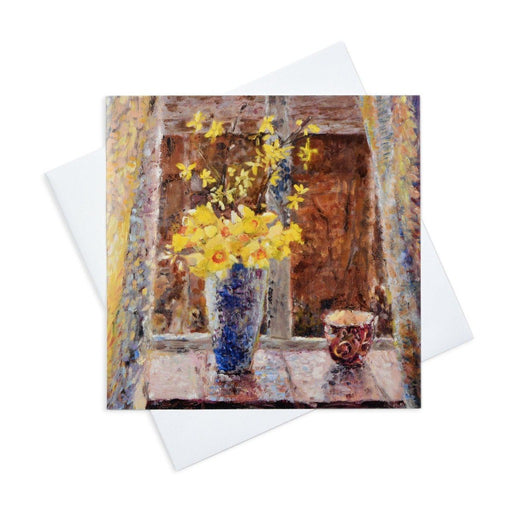 Floral Greeting Card with Daffodils made from original art by Judi Glover Art
