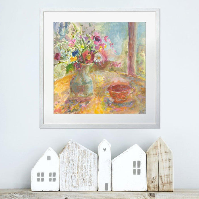 Still life print with flowers available as a framed floral print and flower print for wall art at Judi Glover Art. Her fine art paintings are printed as art prints in the UK