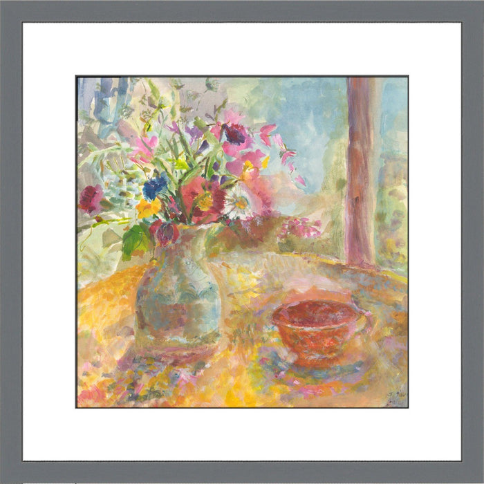 Fine Art Print. Giclee Print made from original painting of a still life showing flowers on a table. Painting called Summer Flowers. Framed prints from original art. Available at Judi Glover Art. Original Painting by Judi Glover. Used for Wall Art.