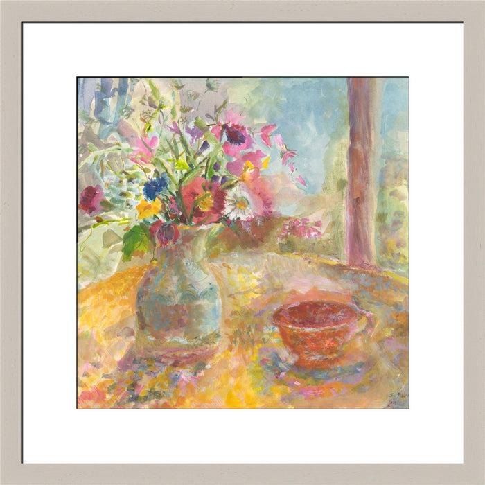 Floral Print made from original painting of a still life showing flowers on a table. Painting called Summer Flowers. Framed prints from original art. Available at Judi Glover Art. Original Painting by Judi Glover. Used for Wall Art.