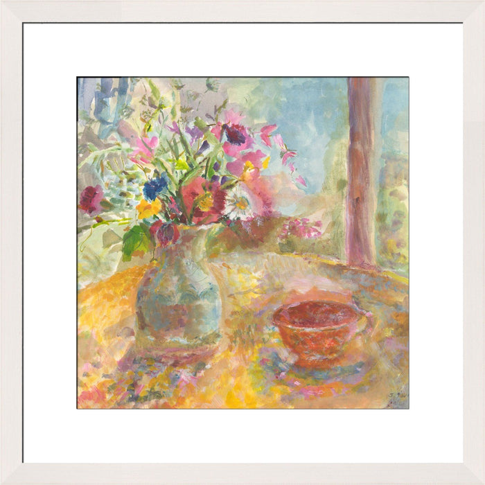 Fine Art Print made from original painting of a still life of flowers. Painting called Summer Flowers available as framed prints of still life paintings from original art at Judi Glover Art. Original still life print by Judi Glover is used for flower art.