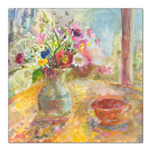 Still life Canvas Print. Floral canvas print from original painting of a still life showing flowers on a table. The still life painting is called Summer Flowers and is available as a floral canvas print at Judi Glover Art.