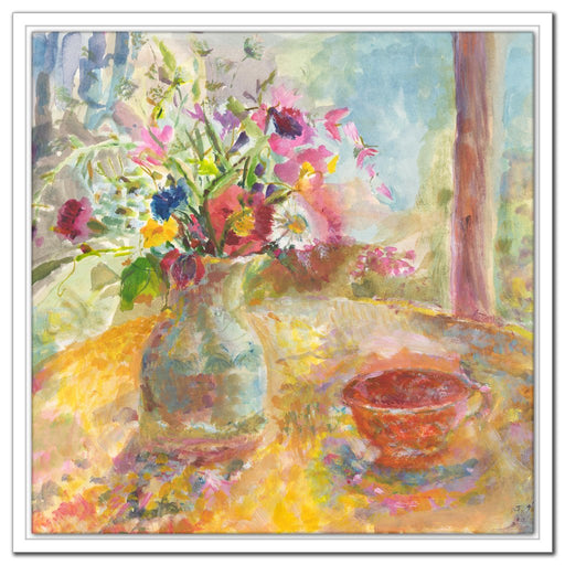 Still life Canvas Print. Floral canvas print from original painting of a still life showing flowers in a vase on a table. The painting of Summer Flowers is printed as a canvas prints from original art it is available online at Judi Glover Art as a still life canvas print used for Wall Art.