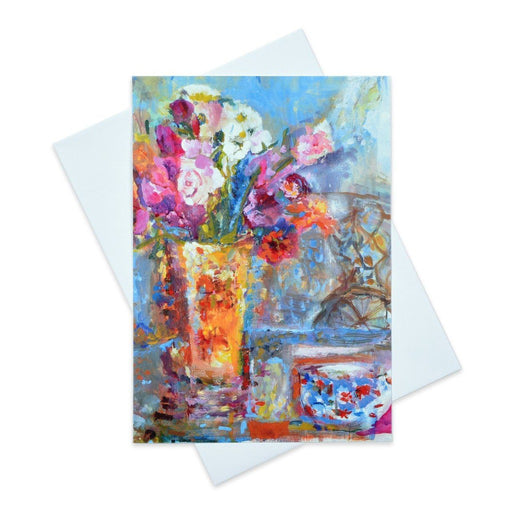 Art Card of a floral summer picnic available to buy online in the UK at Judi Glover Art