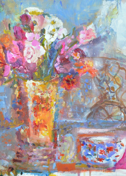 Fine Art Card made from original painting of flowers in a vase on a table with a chair in the background