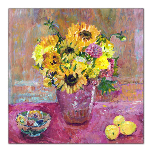 sunflowers Canvas Print. The Sunflowers canvas print is made from a painting of sunflowers and available as a stretched Canvas Print from original art at Judi Glover Art. The canvas print of sunflowers is used for flower wall art.