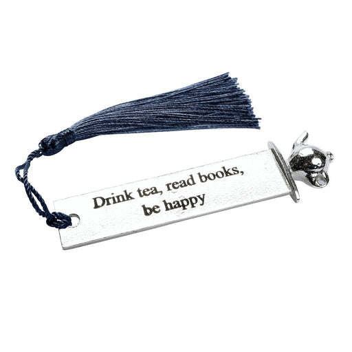 Bookmark with tassels by Judi Glover Art. The gift for tea lovers bookmark has a nay blue tasstle hanging off a metal bookmark that has a quote and teapot at the top