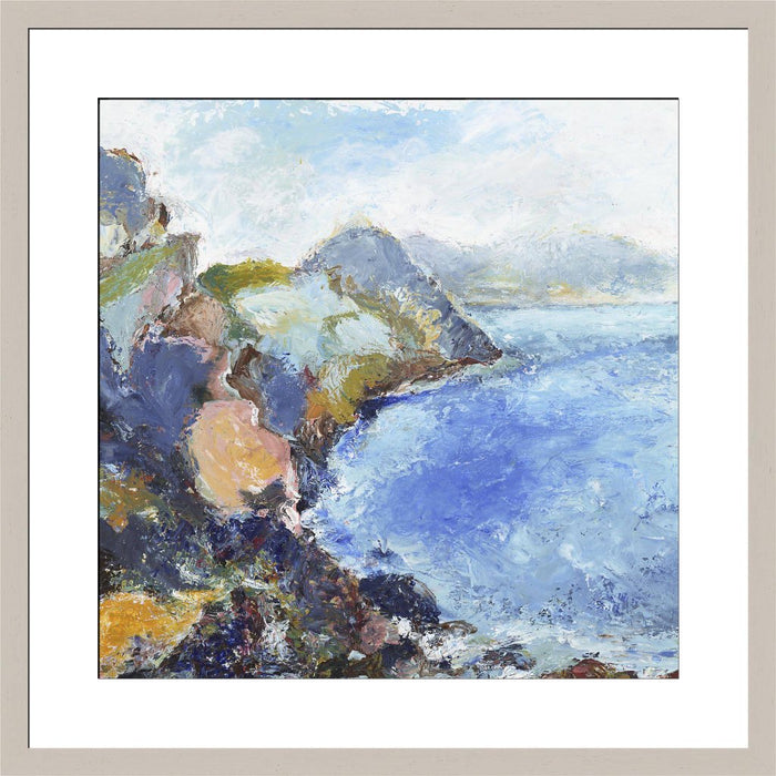 UK Coastal Art Print. Coastal fine art print made from original artwork of the Wilderness Coast in Exmoor. This coastal print is available framed art print from artwork by UK artist Judi Glover. The print is part of a collection of coastal art prints at Judi Glover Art