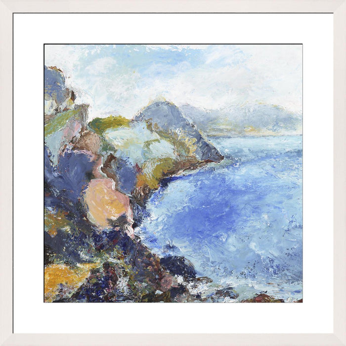 UK Coastal Fine Art Print. Coastal fine art print made from original art. Wilderness Coast Art Print. This giclee art print is available as a unframed fine art print. The fine art print is available as a framed art print. Fine Art prints from Original art by UK artist Judi Glover.