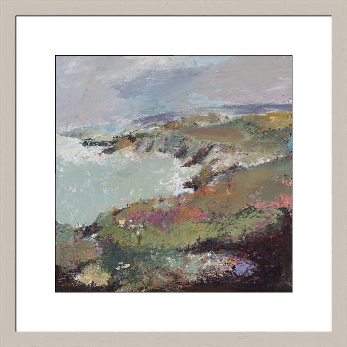 Fine Art Print of the coast made from original artwork of a coastal view of Porthgain, near St Davids in Wales. Framed prints from original art. Available at Judi Glover Art. Original Painting by Judi Glover. Used for Wall Art.