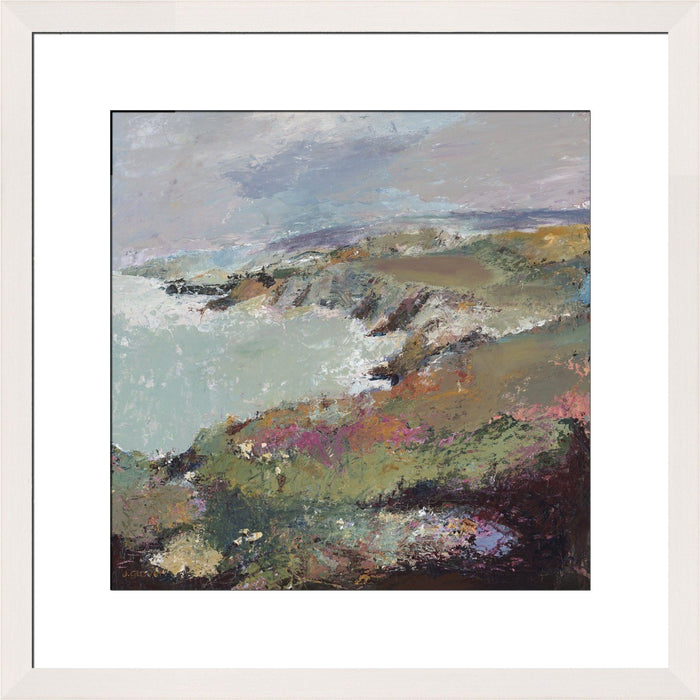 Coastal Art Print. Coastal Print made from original painting of a coastal view of Porthgain, near St Davids in Wales. Framed prints from original art. Available at Judi Glover Art. Original Painting by Judi Glover. Used for Wall Art.