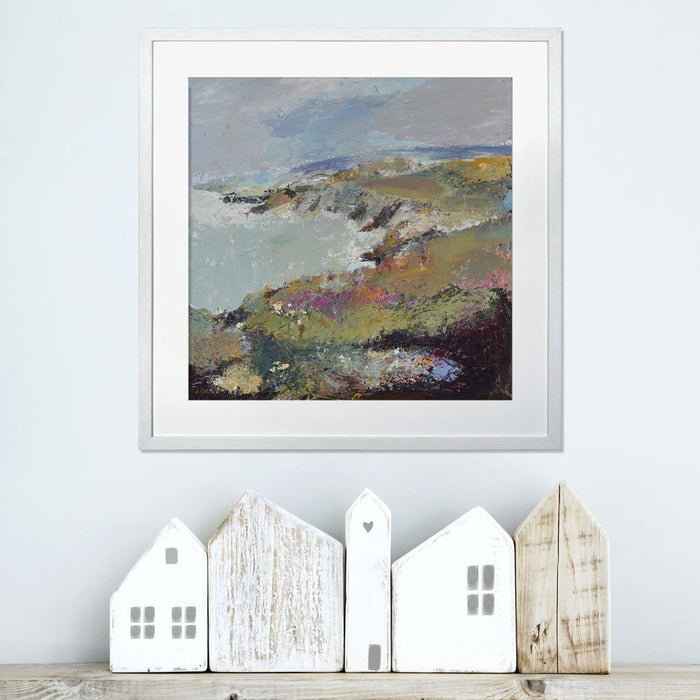 Landscape Wall Art from a Fine Art painting of a view towards Porthgain in Pembrokeshire capturing the sea and coastline. The Coastal Prints are available at Judi Glover Art and are made in the UK