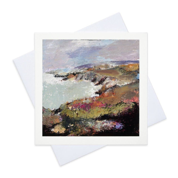 Fine Art Card made from original art painting of porthgain near St Davids in Wales and available as a coastal art card from Judi Glover Art