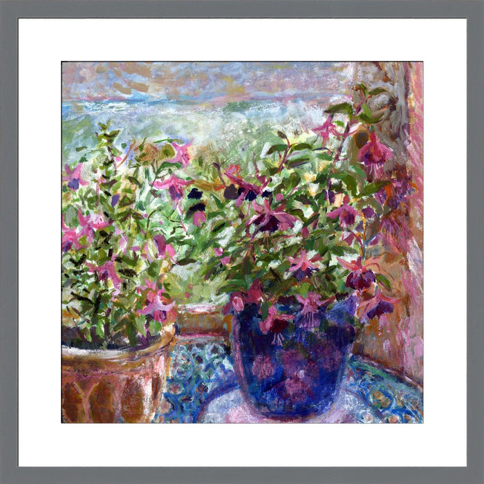 An Original Fine Art Print made from a painting of Fuchsia Flowers. The fuchsia flowers art print is from original art. An impressionistic fine art painting made into a fine art print. Made from an original painting by UK artist Judi Glover and part of the floral art print collection at Judi Glover Art