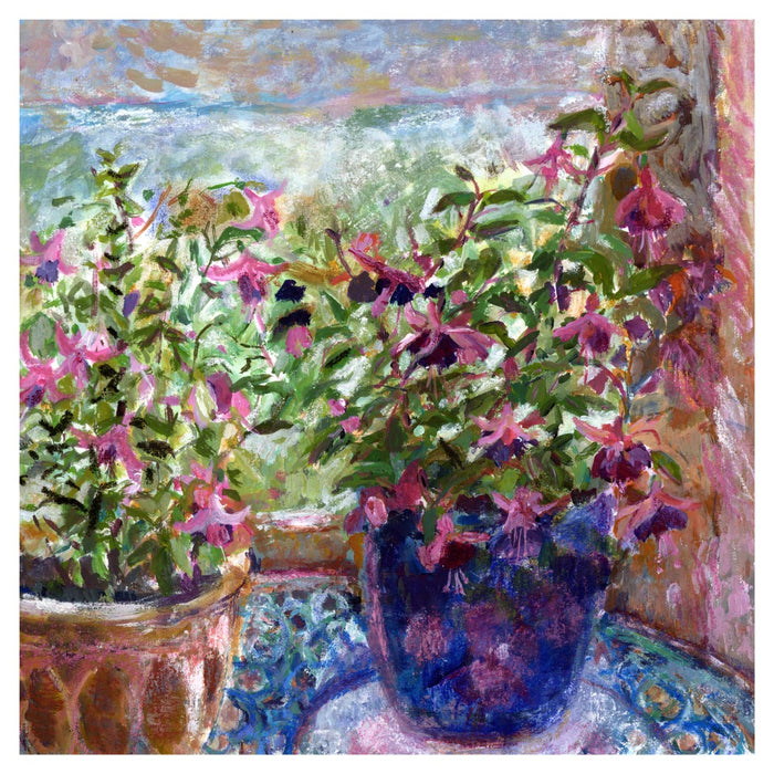 An Original Fine Art Print made from a painting of Fuchsia Flowers. The fuchsia flowers art print is from original art. An impressionistic fine art painting made into a fine art print. Available at Judi Glover Art. Made from an original painting by UK artist Judi Glover