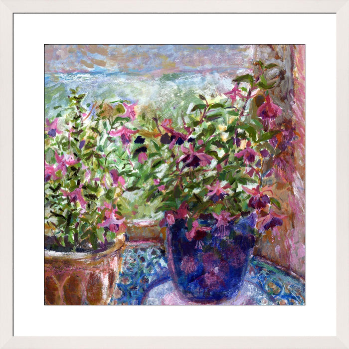 A Fine Art Print made from a painting of Fuchsia Flowers. The flower art print is from original art an impressionistic fine art painting made into a floral fine art print available at Judi Glover Art. Made from an original artwork by UK artist Judi Glover