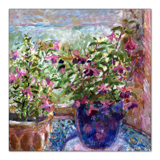 An Original Fine Art canvas Print made from a painting of Fuchsia Flowers. The fuchsia flowers canvas print is from original art. An impressionistic fine art painting made into a canvas print for wall art. Available at Judi Glover Art. Made from an original painting by UK artist Judi Glover