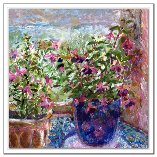 Fine Art canvas Print of Fuchsia Flowers. The floral canvas print is from artwork and made into a canvas print for wall art available at Judi Glover Art and UK artist Judi Glover who has a series of canvas prints with flowers