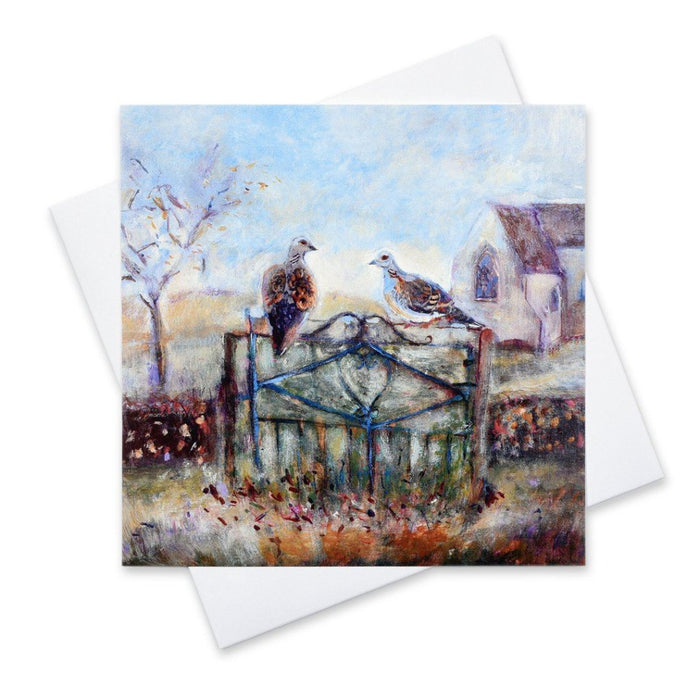 Two Turtle Doves Christmas Cards. Art Christmas Cards made from Original Art. The painting of two turtle doves is by Judi Glover Art. The Christmas Card shows two turtle doves on a church gate.