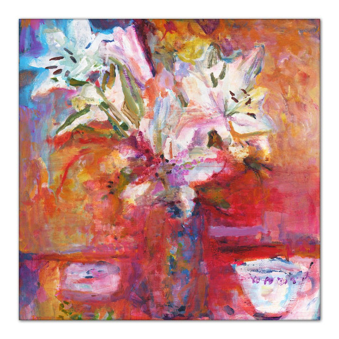 white lilies Canvas Print. Canvas Print made from original painting of Lillies in a vase. Painting called White Lilies. Framed Canvas Prints from original art. Available at Judi Glover Art. Original Painting by Judi Glover. Used for Wall Art.