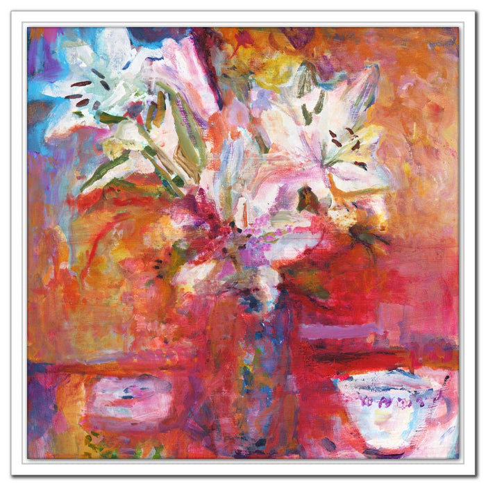 Floral Canvas Print of White Lilies available at Judi Glover Art. The Lilies Canvas Print is from a painting of lilies and is made into a canvas print to buy online at Judi Glover Art