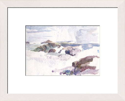 Art Print made from an Original Painting of the Isle of Iona. The iona art print showing Machair Beach is available at Judi Glover Art. The iona art print is framed in white and available online at Judi Glover Art