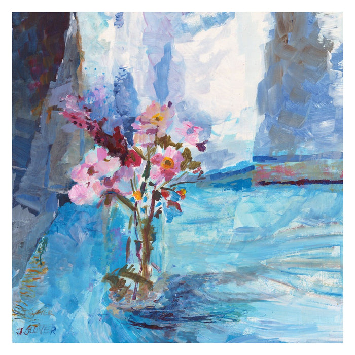 Fine Art Print from original painting of Wild Flowers. Painting of Wild flowers in a vase on a table available as Framed floral prints from original art at Judi Glover Art. Original Painting of wildflowers by Judi Glover is used for floral Wall Art.