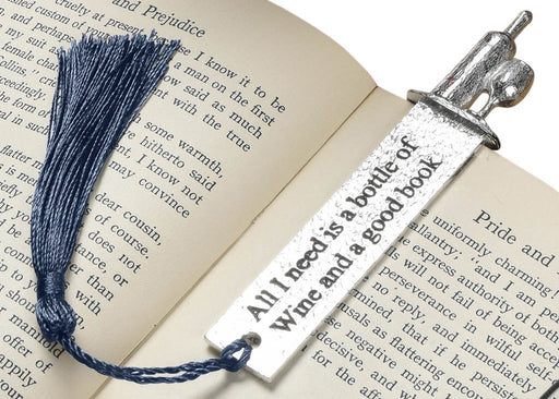 wine lover gifts by Judi Glover Art. The metal bookmark with a tassel is shown between two pages of a book
