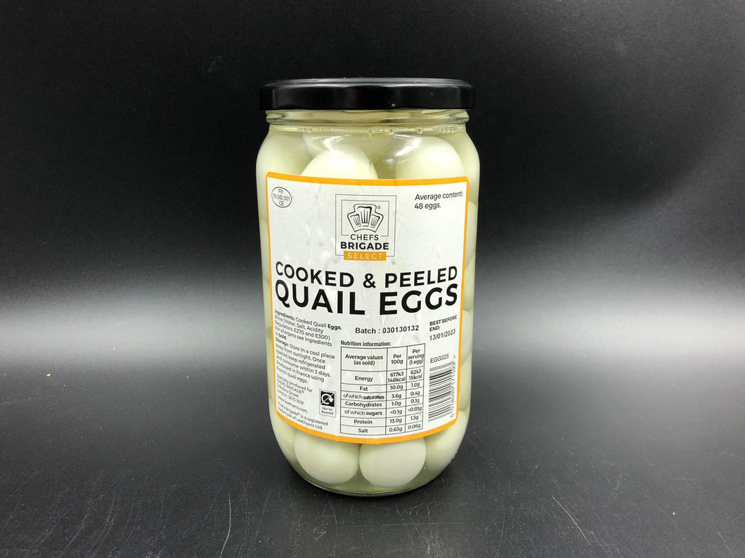 Eggs, Quail,  cooked and peeled. (48 in a jar)