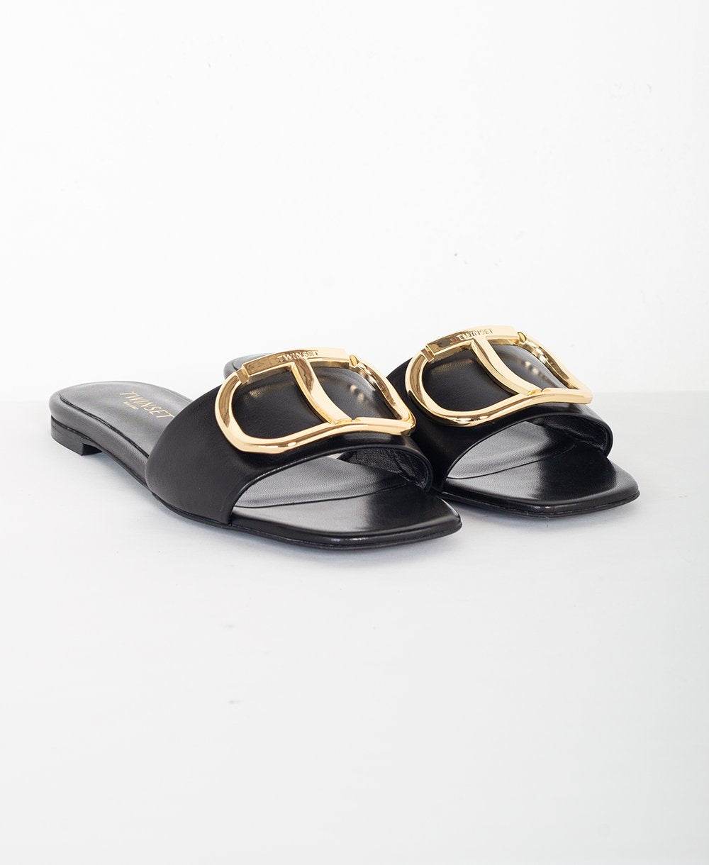 TWIN-SET Sandali slide in pelle con logo 211TCT014