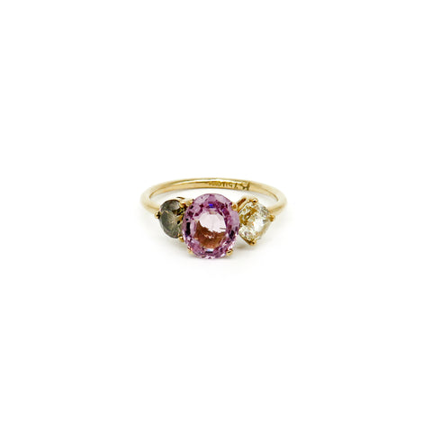 Yellow gold ring with pink, yellow and green stones