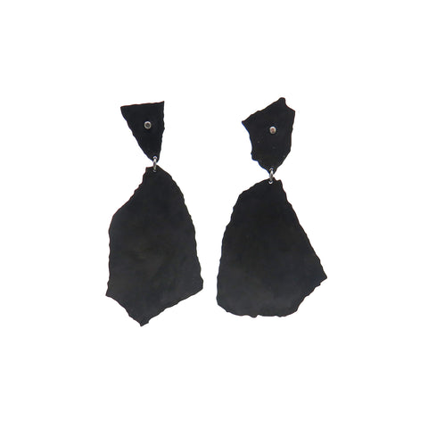 Black torn dangling paper studs