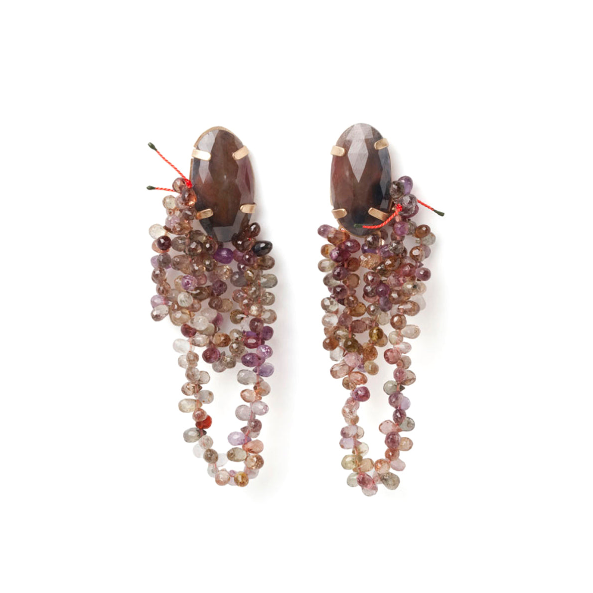 Brown and purple bead earrings