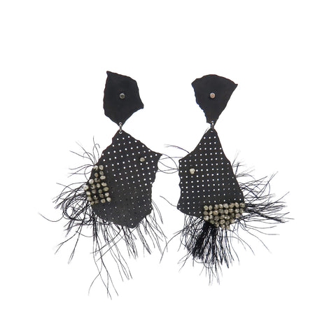 Black torn studs with diamonds and thread