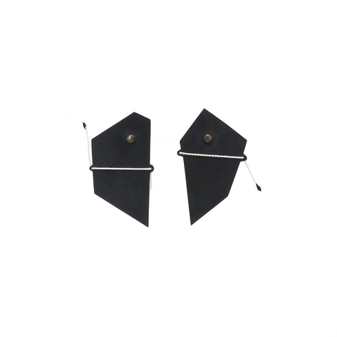 Black shadow studs with white thread