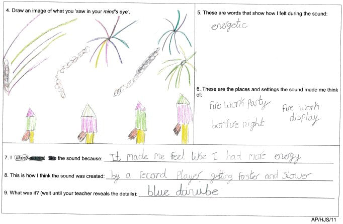 Example of a worksheet with a drawing by a pupil of a fireworks party