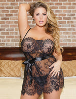 Plus Size Belt Lace Babydoll & Thong Set