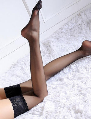 Sheer Thigh High Lace Top Stocking - Missbodybra