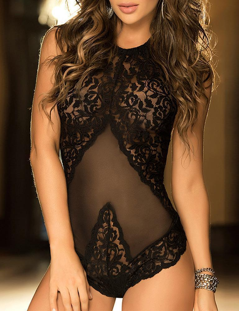 Backless Halter Lace & Mesh Teddy