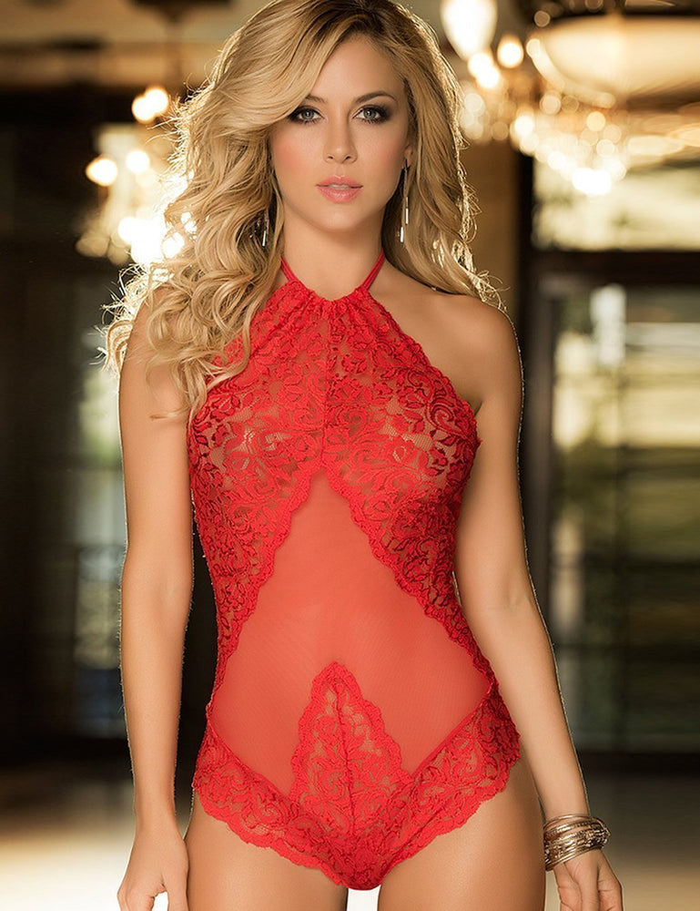 Backless Halter Lace & Mesh Teddy - Missbodybra