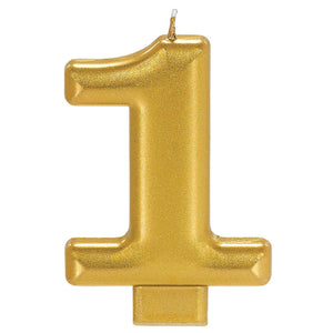 Candle Metallic Numeral #1 Gold - Dollar Max Depot