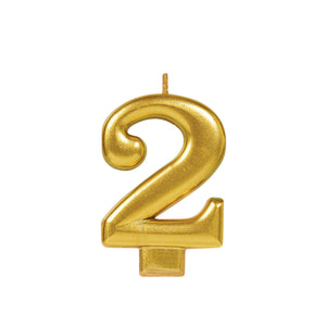 Candle Metallic Numeral #2 Gold - Dollar Max Depot