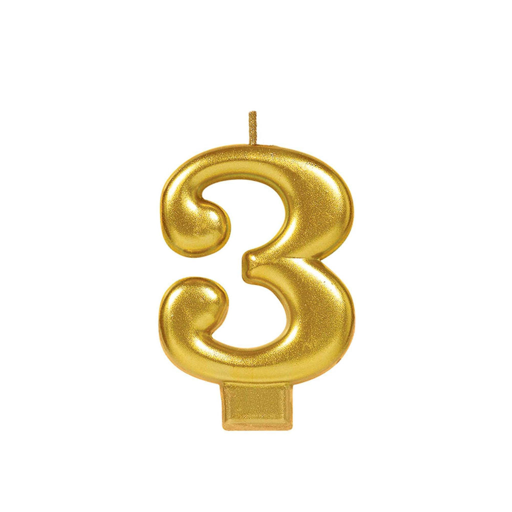 Candle Metallic Numeral #3 Gold - Dollar Max Depot